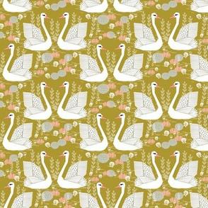 swan lake // mustard olive yellow swans birds pastel girls sweet bird swan print