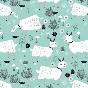 goats // mint farm animal farm cute nursery baby goats farm animal print