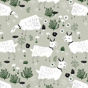 goats // linen grey neutral kids baby nursery farm animals farm print