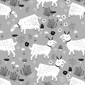 goats // grey farm animal black and white neutral monochrome animals cute baby design