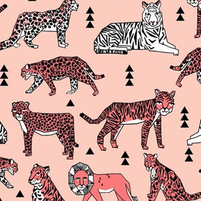 lions and tigers // pink and coral girls sweet zoo safari animals lions stripes cheetah animal spots