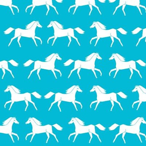 horses // turquoise kids girls horse pony cute girls room fabric