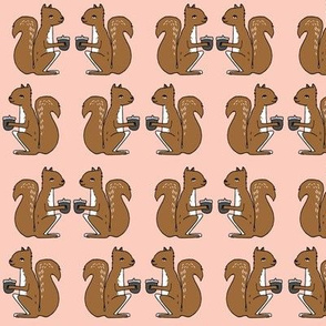 squirrel // squirrels pink and brown kids nursery baby soft colors baby autumn fall acorns