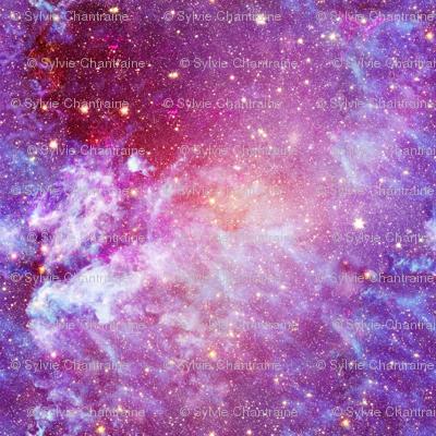 Electric planet warm pink galaxy nebula fabric paysmage for Nebula fabric by the yard