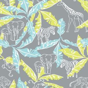 Cool Grey Safari & Banana Leaves