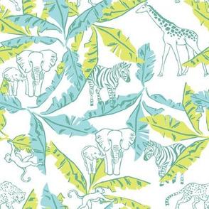 White Safari & Banana Leaves