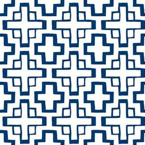 mosaic pool tile in white/nautical navy