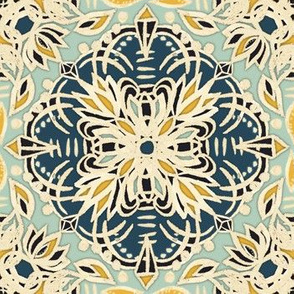 Deep Teal, Cream, Sage Green, Yellow Ochre Medallions