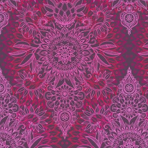 Deep Pink and Mauve Protea Doodle