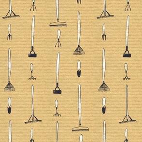 Gardening tools on brown stripe