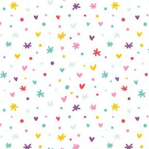 Abstract confetti, hearts and stars