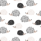 Scandinavian sweet hedgehog illustration for kids gender neutral black and white
