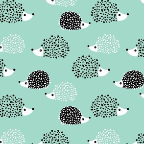 Scandinavian sweet hedgehog illustration for kids gender neutral black and white mint
