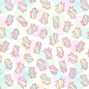 Marshmallow characters pattern on abstract background