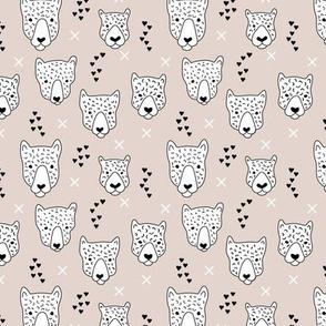 Cool leopard safari animals sweet baby panther love geometric kids illustration black and white pastel beige XS