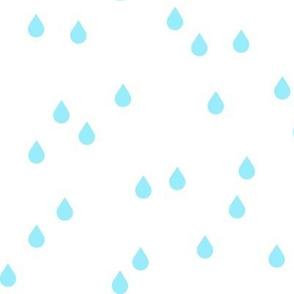 Clouds + Rain - Rain Drops Aqua on White