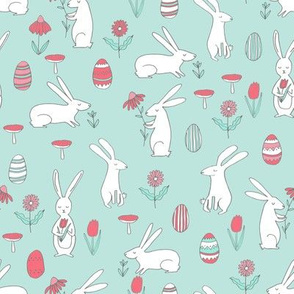 bunnies // easter bunny pink and mint cute kids easter spring