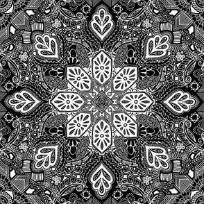 Gypsy Lace White on Black Doodle Pattern