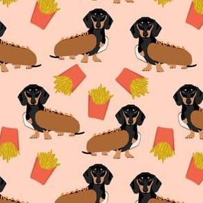 doxie dachshund winer dog hot dog and fries dog costume cute funny food novelty dog pet puppy print