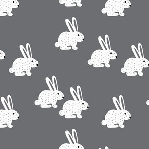 Sweet pastel bunny rabbit kids pastel scandinavian style illustration print gray
