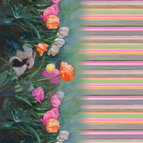 Tulips Rabbit Border with Stripes Oil Painting
