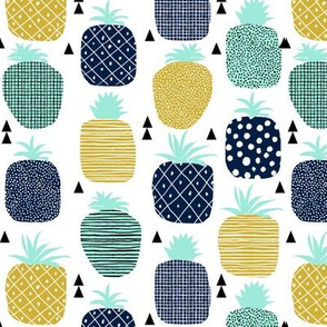pineapple tropical fruit summer navy blue