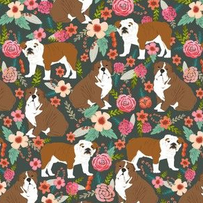 english bulldog sweet flowers florals vintage style painted watercolor flowers english bulldog fabric bulldog fabric
