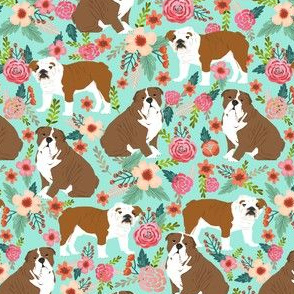 English Bulldog Florals flowers mint sweet spring watercolor florals mint