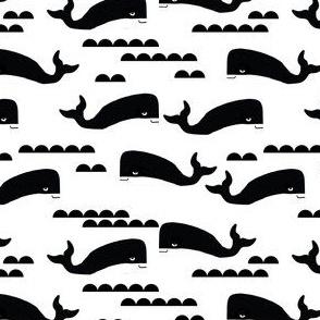 whale black and white ocean nautical whales cute kids scandinavian trendy cool design