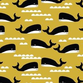 whales whale ocean nautical summer mustard yellow kids gender neutral cool scandinavian kids design
