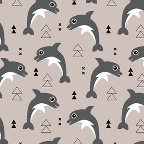 Cute geometric dolphins cute kids fish illustration summer print beige