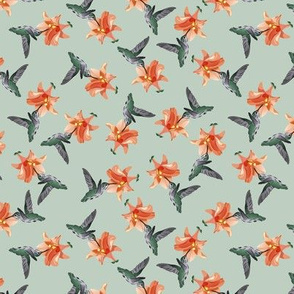 Hummingbird and Orange on Muted Gray-Green