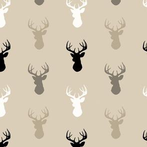 Deer-Black/Tan- Midnight a Woodland - gender neutral nursery- baby boy