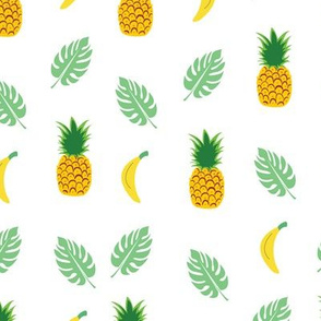 Pineapple Banana White Background