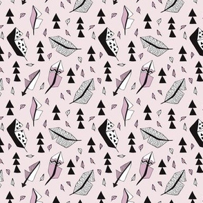 Cool geometric feathers and arrows abstract triangle hand drawn illustration scandinavian style in lavender violet black and white XS