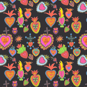 Hearts-on black
