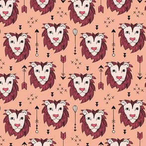 Cool scandinavian style lion and arrows safari animals kids illustration geometric pattern in coral and pink XS