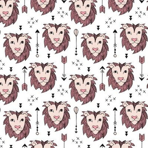 Cool scandinavian style lion and arrows safari animals kids illustration geometric pattern in beige and pink XS
