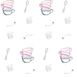 Stacked Tea Cups & Spoons