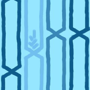 geometric blue wheat field