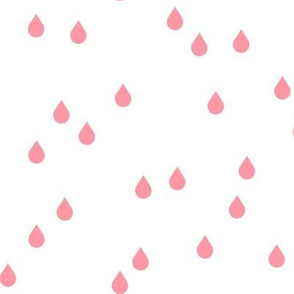 Clouds + Rain - Raindrops Coral Pink on White
