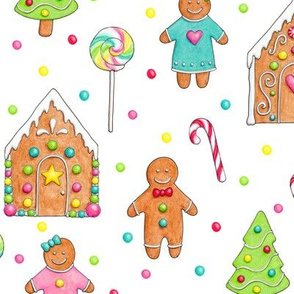 Christmas Gingerbread People and Houses