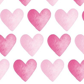 Watercolour Hearts Pink
