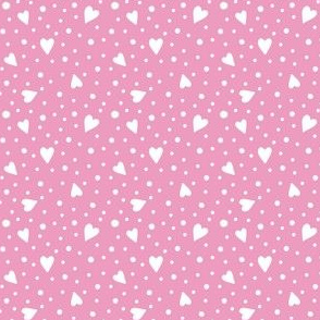 Ditsy Hearts and Spots White on Pink