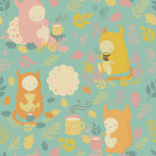 Cute monsters and tea party