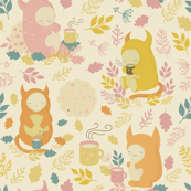 Cute monsters and tea party in forest