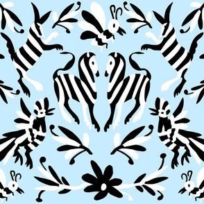 Pale Blue Otomi Striped Animals