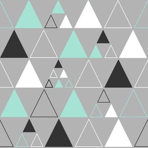 Triangles - Large Stacked in Mint Gray White