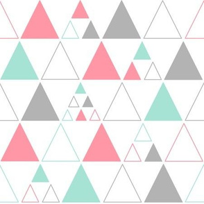 Triangles - Stacked Large in Coral Gray Mint