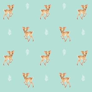 Bambi Speckled Deer on Palest Duck egg blue